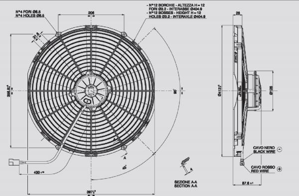Lüfter Universal ELEKTRO - LÜFTER CONDENS.385mm-12V-SAUGEND - MOT.GROSS
