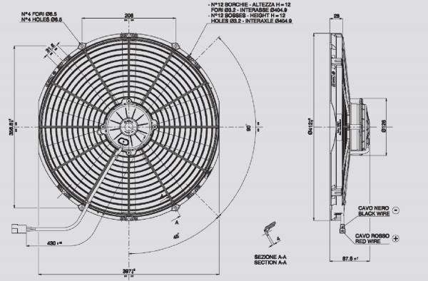 Lüfter Universal ELEKTRO - Lüfter D.385 24 Volt Saugend
