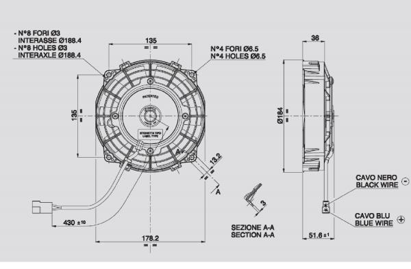 Lüfter Universal ELEKTRO - Lüfter 24 Volt D. 167 Drückend