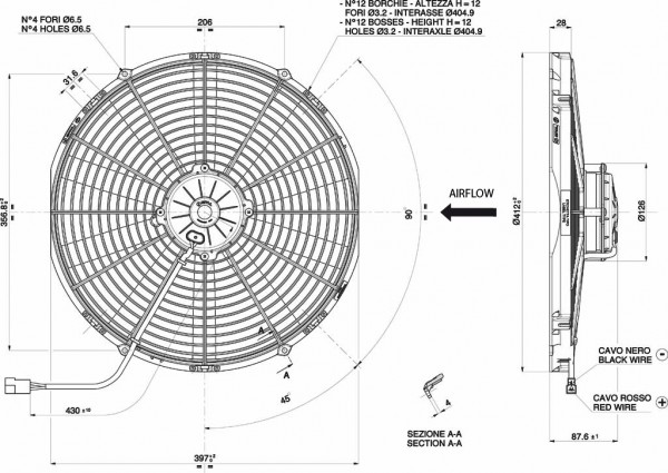 Lüfter Universal ELEKTRO - Lüfter 12 Volt D. 385 Drückend