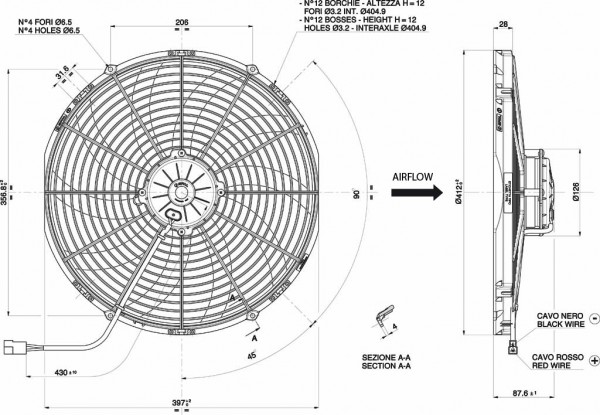 Lüfter Universal ELEKTRO - LÜFTER COND. 385mm-12V-ASP-MOT.GROSS-PALE CURVE
